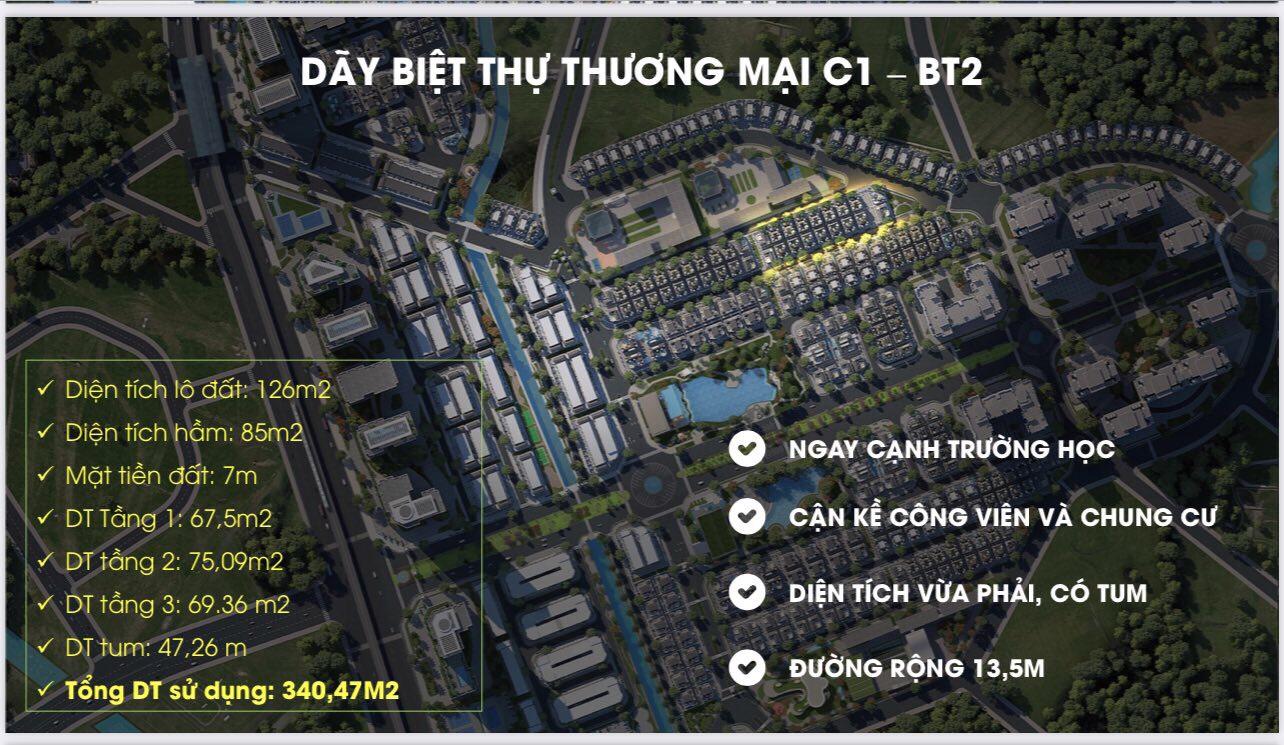 Biệt thự thương mại xây hầm C1-BT2 An Lạc Green Symphony Vân Canh, Hoài Đức