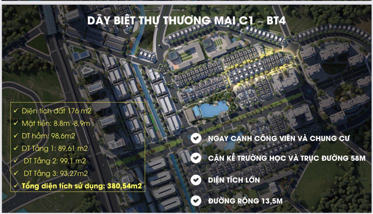 Biệt thự thương mại xây hầm C1-BT4 An Lạc Green Symphony Vân Canh, Hoài Đức