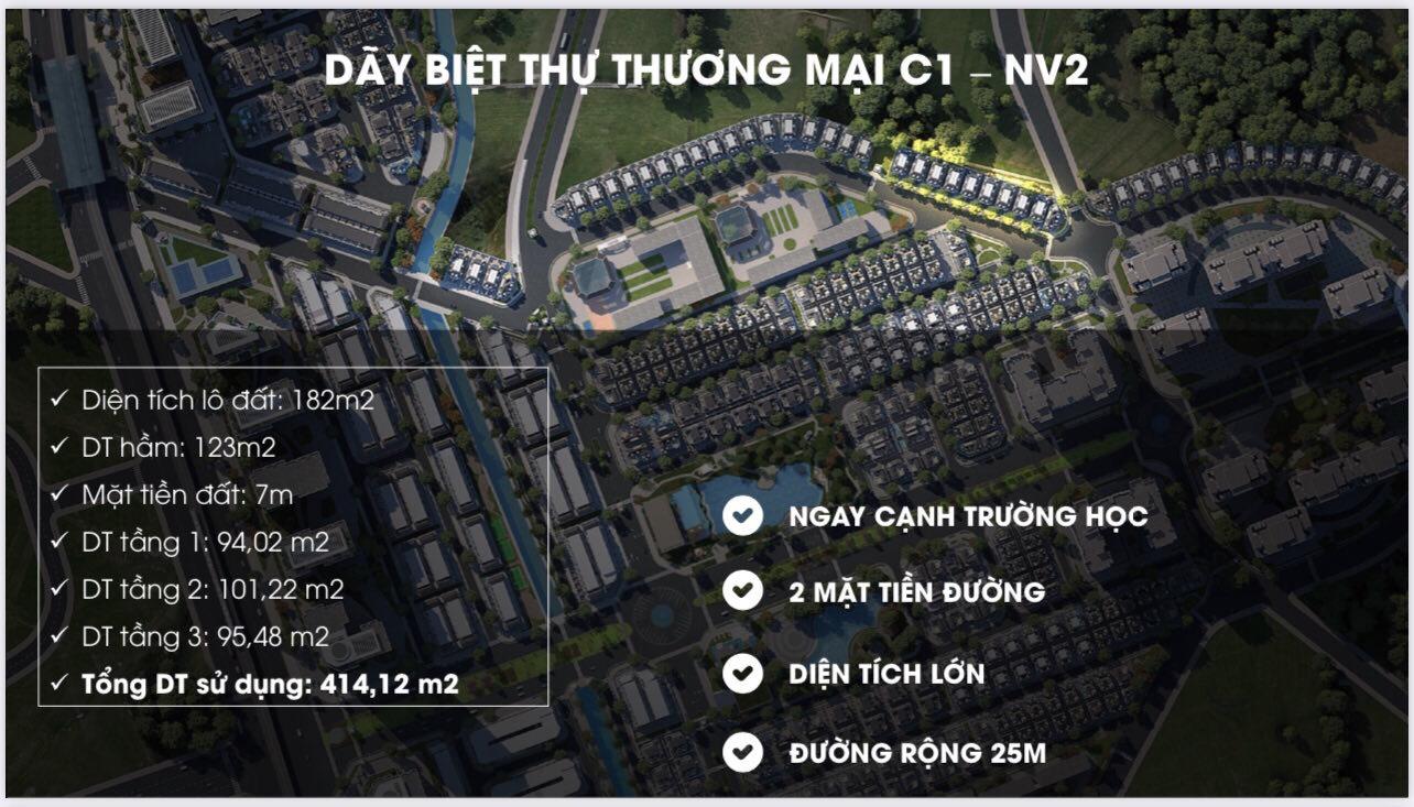 Biệt thự thương mại xây hầm C1-NV2 An Lạc Green Symphony Vân Canh, Hoài Đức