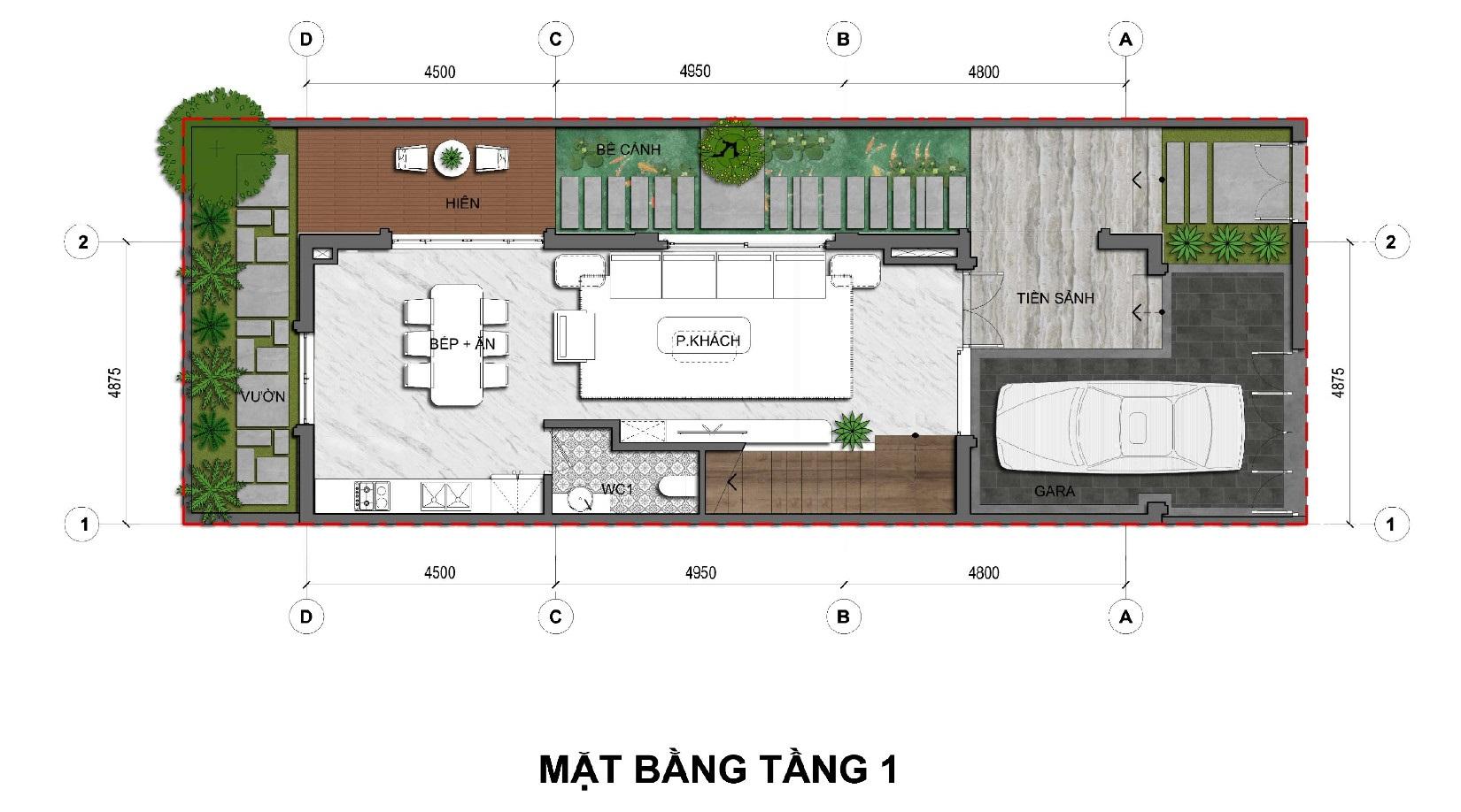 Tầng 1 Dãy biệt thự thương mại 135m2 C1-BT1An Lạc Green symphony