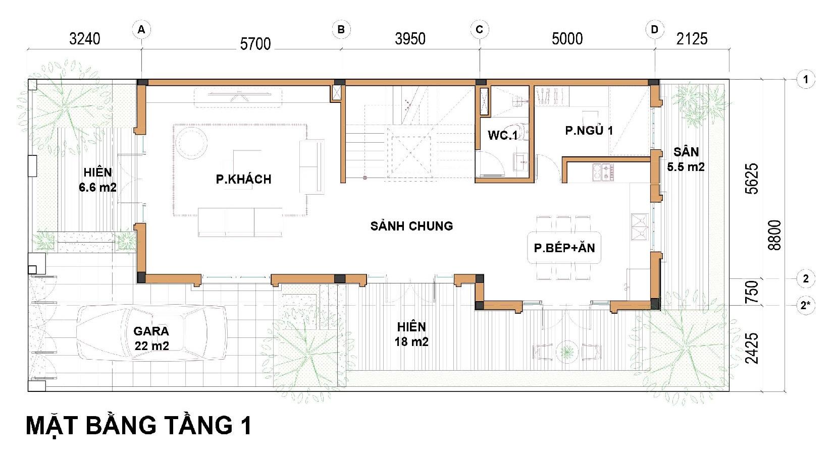 Tầng 1 Dãy biệt thự thương mại 176m2 C1-BT4 An Lạc Green Symphony
