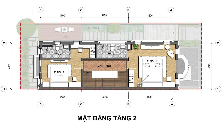 Tầng 2 Dãy biệt thự thương mại 135m2 C1-BT1An Lạc Green symphony