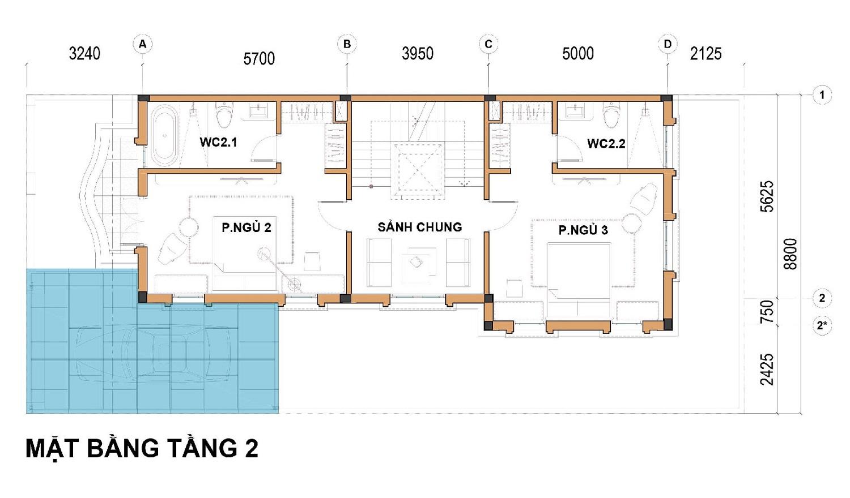 Tầng 2 Dãy biệt thự thương mại 176m2 C1-BT4 An Lạc Green Symphony