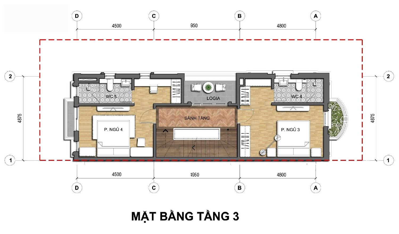Tầng 3 Dãy biệt thự thương mại 135m2 C1-BT1An Lạc Green symphony