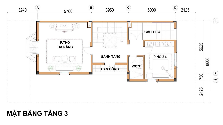 Tầng 3 Dãy biệt thự thương mại 176m2 C1-BT4 An Lạc Green Symphony