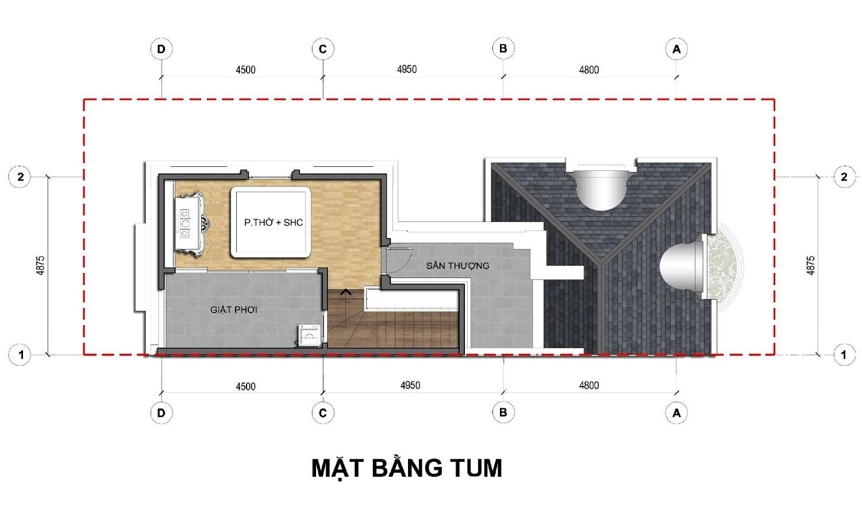 Tầng 4 Dãy biệt thự thương mại 135m2 C1-BT1An Lạc Green symphony
