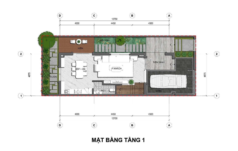 Thiết kế tầng 1 Biệt thự kinh doanh An Lạc Green Symphony