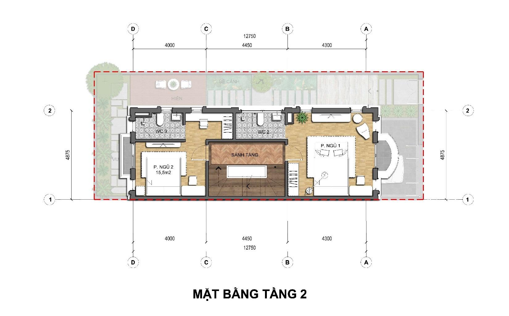 Thiết kế tầng 2 Biệt thự kinh doanh An Lạc Green Symphony