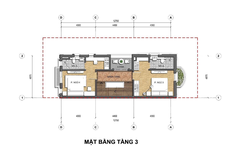 Thiết kế tầng 3 Biệt thự kinh doanh An Lạc Green Symphony