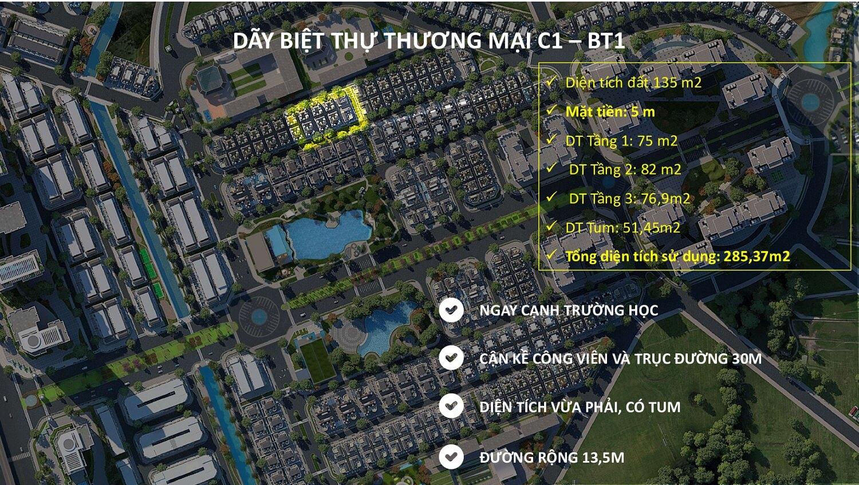 Vị trí Dãy biệt thự thương mại 135m2 C1-BT1An Lạc Green symphony